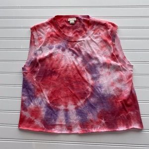 J.CREW |L| Upcycled Tie Dye Cropped Retro Top